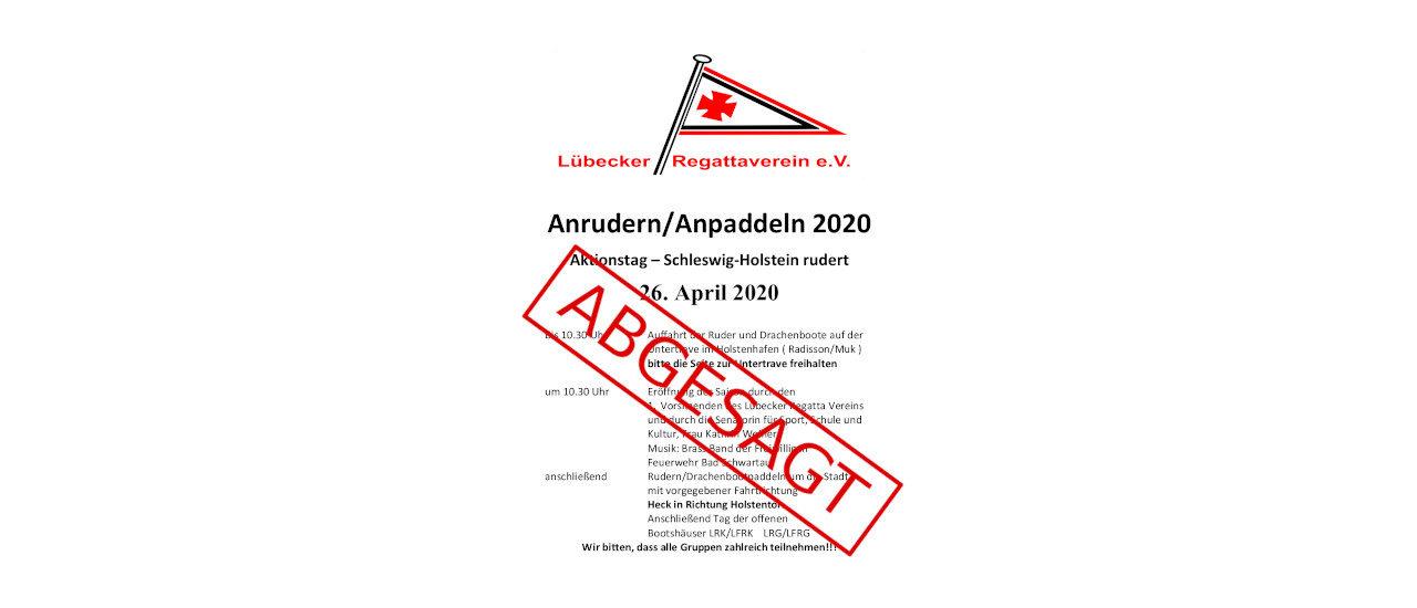 Absage des gemeinsamen Anruderns am 26. April 2020